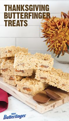 Your holiday party wouldn't be complete without these Thanksgiving Butterfinger Treats. The combination of marshmallows, browned butter, rice cereal, and BUTTERFINGER® Peanut Butter Cups make this no-bake dessert recipe the perfect choice for feeding a crowd. So, whether you're celebrating with friends or family this fall, be sure to serve this crispety, crunchety, peanut-buttery treat.