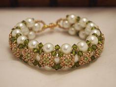 Beaded Jewelry Swarovski Pearls Bracelet Christmas Green White and Gold. via Etsy.