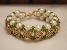 Beaded Jewelry Swarovski Pearls Bracelet Christmas Green White and Gold. via Etsy.