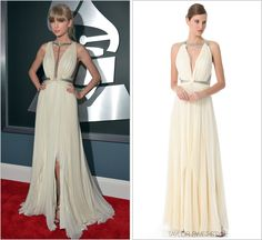 The 55th Annual GRAMMY Awards | Los Angeles, CA | February 10, 2013. J. Mendel Spring 2013 RTW - $5890.00. Looking like a grecian goddess, this gown by J Mendel was saved from being just another ivory chiffon confection in Taylor's repertoire by that thigh-high slit and micro-bugle metallic straps that were custom-fitted on the plunging neckline for Tay's version of the runway dress.