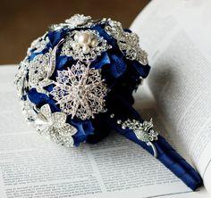 Vintage Bridal Brooch Bouquet Pearl Rhinestone Crystal - Silver Dark Royal Blue - 40% off - BB007LX. $72.00, via Etsy.