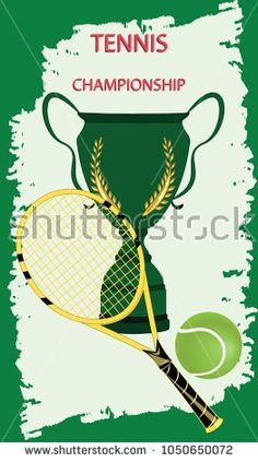 Tennis Championship - Prize Cup, racket, ball - lightly grunge salad element on a green background - art vector. Sports Poster