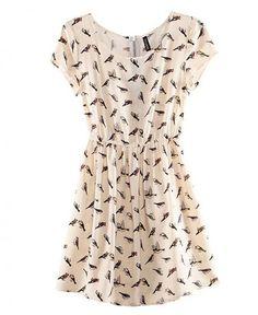 Vestido curto estampa de pássaros