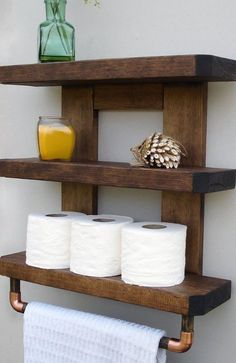 #Bonanza #Bathroom #Storage #Shelf #Wall #Organizer #Towel #Rack #Rustic #Wood #Space #Saver  #Handmade