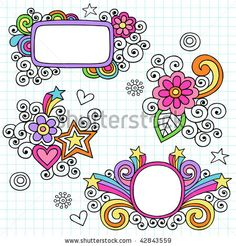 Hand-Drawn Psychedelic Notebook Doodle Frames on Graph (Grid) Paper Background- Vector Illustration - stock vector