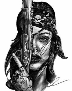 Gotica Gangster Tattoos, Chicano Tattoos, Chicano Art, Pin Up Tattoos, Girl Tattoos, Tattoos For Guys, Tattoos For Women, Black And White Art Drawing, Yogi Tattoo
