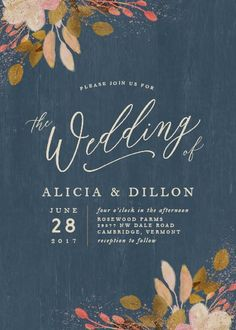 Rustic leaves wedding invitation in navy blue. Love this for a fall wedding.
