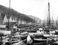 Here we see Bryggen photographed by Knud Knudsen sometime between 1882 and 1885. UB - archive has urban and landscape photographs of Knudsen from 1862 to 1900  #Norway ☮k☮ #Norge