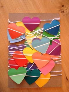 this paint chip heart garland to send love and cheer to a friend who is in the hospital for an extended stay. Such a fun, cute project and great way to let someone know you care. Thanks to Morin for the idea!Made this paint chip heart garland to send Paint Chip Cards, Paint Sample Cards, Paint Samples, Fun Crafts, Crafts For Kids, Chip Art, Paint Swatches, Valentine Day Crafts, Valentines