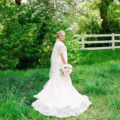 Pin for Later: 25 Brides Who Went Modest on Their Wedding Day — and Completely Took Our Breath Away  Looking lovely in some lace.