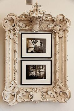 interesting idea. could find large ornate frame and put three smaller frames inside.
