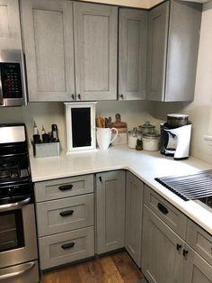 Luxury Small Kitchen Nova Light Gray Cabinets by Kitchen Cabinet Kings - Kitchen Cabinet Kings, Grey Kitchen Cabinets, Kitchen Flooring, Kitchen Counters, Brown Cabinets, Cherry Cabinets, Kitchen Walls, Kitchen Paint, Kitchen And Bath