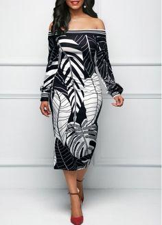 Golf Outfit S Women Off the Shoulder Leaf Print Black Sheath Dress Women's Fashion Dresses, Sexy Dresses, Cute Dresses, Beautiful Dresses, Casual Dresses, Sheath Dresses, Outfit Vestido Negro, Black Bardot Dress, Look Fashion