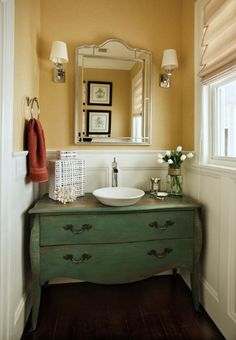 Love the dresser made into vanity... Powder Rooms