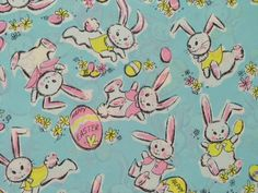 Bunny kids vintage wrapping paper gift by holidaykitschklatsch vintage gift wrapping paper happy easter by thegooseandthehound negle Image collections