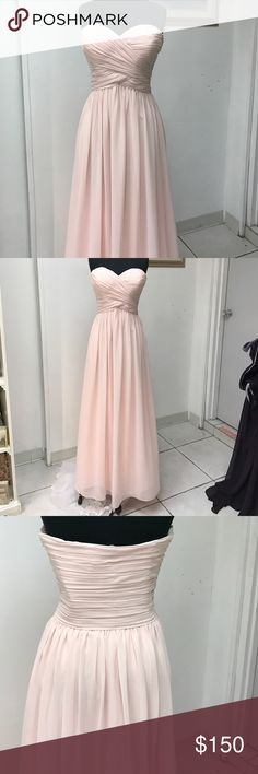 Baby pink Chiffon Gown Side invisible zipper, strapless, straight skirt Dresses Strapless