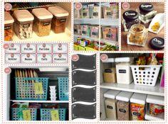 Ideias de uso para etiquetas na organização dos armários de cozinha