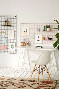 Wire wall grid shelf for home office / workspace inspiration