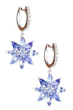Savvy Cie Diamond & Purple Tanzanite Flower Huggie Dangling Earrings on HauteLook