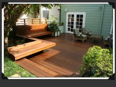 Completed IPE deck with built-in benches