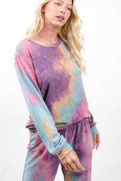 Cozy Tie Dye Sweatshirt in Purple/Jade Grace And Co, Tie Dye Sweatshirt, Contemporary Fashion, French Terry, Love Fashion, Joggers, Cozy, Plus Size, Purple
