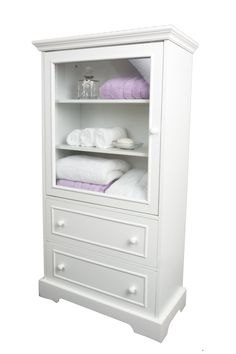 White Wood Linen Cabinet with glazed door and two drawers - Storage - Bathroom - Bedroom