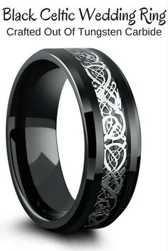 Black celtic wedding ring crafted out of tungsten carbide. This celtic ring is designed with a celtic dragon inlay resting on top of a black woven carbon fiber inlay. I love this mens celtic wedding band!