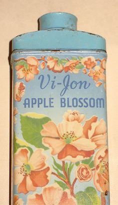 Vintage 40's VI-JON APPLE BLOSSOM FLOWER TALC TALCUM POWDER METAL TIN ADVERTISING