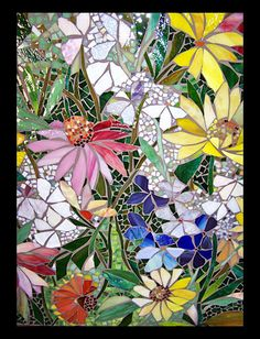 mosaic floral panel - large image