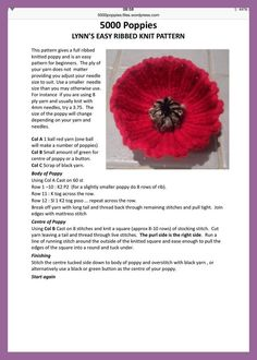 Easy ribbed knitted Poppy - Decor Tips 2019 Knitted Poppy Free Pattern, Baby Mittens Knitting Pattern, Knitted Flower Pattern, Knitted Poppies, Knitted Flowers, Crochet Patterns Amigurumi, Knitting Patterns Free, Free Knitting, Knitting Stitches