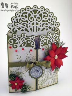 Pretty Gate Fold Christmas card. Heartfelt dies to make the filigree on the card. See either Dutch Paper crafts or Creative Play Stamps for your heartfelt dies & stamps! Tell them Stephanie sent you!!