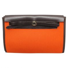 Pre-owned Hermès Herbag Leather Clutch Bag (25,660 THB) ❤ liked on Polyvore featuring bags, handbags, clutches, multicolour, multi colored clutches, multi colored purses, multi colored leather handbags, orange leather handbag and colorful clutches