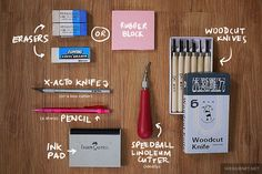 Tutorial: How to carve eraser stamps by Wedgienet.net - Illustration / Design, via Flickr - Excellent tutorial with detailed step by step pictures and tips.   Easy and fun read.