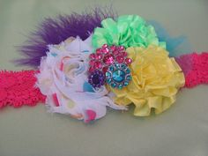 This would be great for a girls first birthday photo shoot....Colorful Baby Headband by ChubbyCheekBoutique1 on Etsy, $14.95