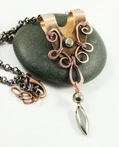Copper Washer Pendant Drop Necklace