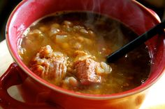 Soupe a L'Oignon et Porc.....Lots of tender sweet onions with beans and garden tomatoes make the back drop for a phenomenal soup/stew infused with marinated pork. Slow cook this all day in a crock pot and you have a home filled with glorious aroma and a meal that begs to be shared with a nice crusty French Baguette. www.deniebernier.com