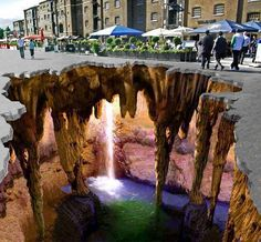 Amazing 3D street art..I'd be scared to walk on that