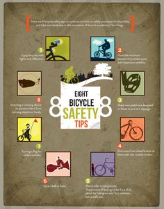 8 bicycle safety tips - for my great nephew who is recovering from a horrific bicycle accident; thoughts and prayers are with you! Road Safety Poster, Safety Posters, Bicycle Safety, Bicycle Art, Summer Safety, Safety Courses, Bicycle Types, Family Fitness, Safety Tips