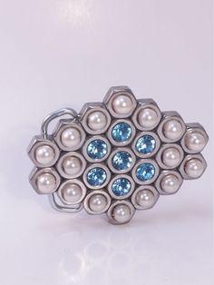 Handmade Belt Buckle with Rhinestones and Pearls