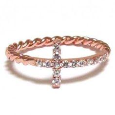 Sideways Cross Ring-Rose Gold