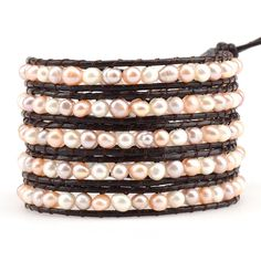 In-Stock and Ships in 24-hours. Victoria Emerson 5-Wrap bracelet. Mixed freshwater pearls on brown leather. About Freshwater Pearls: The different shapes that freshwater pearls come in contribute to t