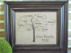 Personalized Family Tree Burlap Wall Art  by SimplyFrenchMarket, $25.00