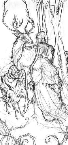 Abigail Larson's forest spirits sketch
