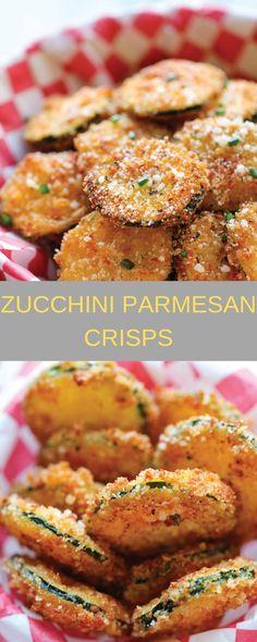 Zucchini Parmesan Crisps ~ Easy to make, does involve frying. Parmesan Chips, Zucchini Parmesan Crisps, Fried Zucchini, Parmesan Crusted, Appetizer Recipes, Keto Recipes, Vegetarian Recipes, Cooking Recipes, Healthy Recipes