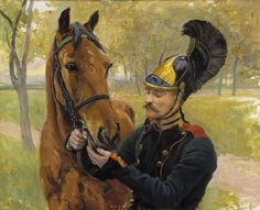 """""""Cavalry Regiment soldier and his mount"""" Hugo Backmansson - The officer, artist, chess champion and world traveler Hugo Elias Backmansson is the only Finnish-born painter who got / received a war- and a battle-painting education in Russia. Battle, Painter, Painting, Paintings I Love, Art"""