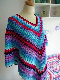 Crochet Poncho. Happy.