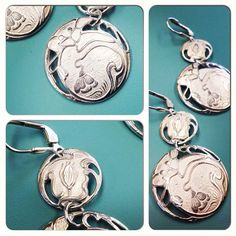 Double Art Nouveau Button Earrings. $148.00, via Etsy.