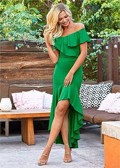High Low Ruffle Dress Tie Dress, Ruffle Dress, Formal Dress Shops, Mix And Match Bikini, Spring Dresses, Women's Dresses, Event Dresses, Party Dresses, Latest Fashion For Women