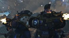 Forces of the Ultramarine Legion accompanied by their auxilia forces secure the crash site of a downed thunderhawk.the area is crawling with world eate. Securing the area Warhammer 40000, Space Marine, Rwby, Marines, War Hammer, Deviantart, Fantasy, Character Ideas, Wallpaper