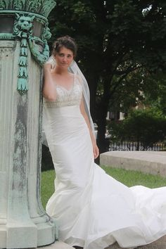 Trumpet style wedding gown made of a silk shantung, lace, rushing and bling... Check it out on Ebay @ perfect10iz